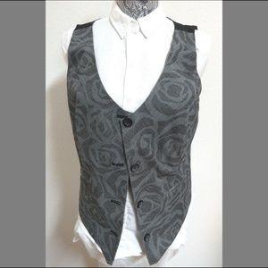 Sz M Gray Floral Chico's Womens #37U Suit Vest